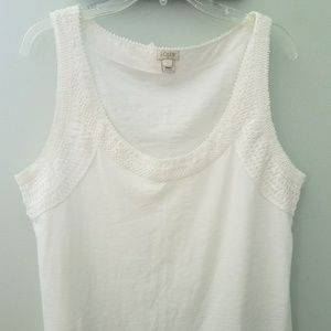 J Crew Crochet Lace Trim Tank Top Size Large